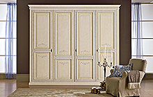 4-, 3- and 2-door wardrobe Antique finish, light blue colour wash on outer section ochre on inner section