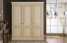4-, 3- and 2-door wardrobe Antique finish, pink colour wash on outer section and ochre on inner section