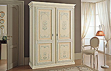 4-, 3- and 2-door wardrobe Antique finish, light blue decoration and colour wash on outer section, pink on inner section