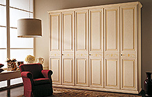 6-door wardrobe  Florentine art finish with pink fresco, ochre colour wash and decorations