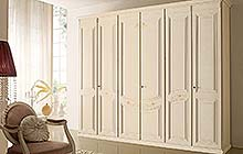 wardrobe with six hinged doors:Florentine art rose fresco finish with ochre color wash and decorations