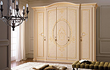 5-door wardrobe  Florentine art finish with pink fresco, ochre colour wash  and decorations