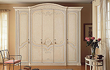 4-door wardrobe  Antique finish with ochre and smoky blue colour wash