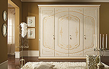 4-door wardrobe  Antique finish with ochre colour wash and decorations