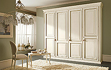 4-, 3- and 2-door wardrobe Antique white glazed finish with silver