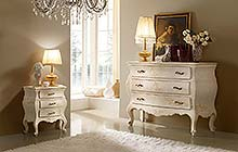 dressers and nightstands:antique finished and ochre color washes and decorations