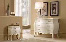 dressers and nightstands:glazed antique white finish with ochre color wash and decorations