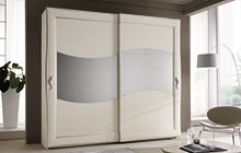 sliding 2-door wardrobe Antique white finish with silver trim and Uadi glass panel