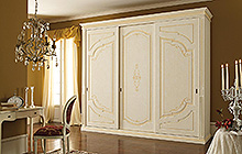 sliding 3-door wardrobe Antique finish  with ochre colour wash