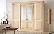 sliding 4-door wardrobe Pink Florentine art finish with fresco and ochre colour wash