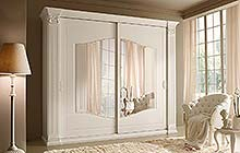 wardrobe with two sliding doors  with external mirrors: semi-gloss lacquered white finish