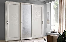 sliding 2- and 3-door wardrobe Antique white finish with stucco decoration and Uadi glass panel on central door