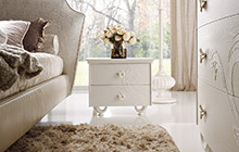 LACQUERED ASH FINISH FR01 OFF-WHITE AND WHITE STUCCO DECORATION / PEGASO NIGHTSTAND WITH 2 CURVED DRAWERS