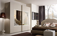 LACQUERED ASH FINISH FR03 DOVE GREY AND WHITE LACQUER . MIRRORED DOOR ANDROMEDA WARDROBE WITH 2 SLIDING DOORS W/MIRROR