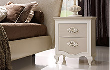 LACQUERED ASH FINISH FR03 DOVE GREY AND WHITE LACQUER ANDROMEDA 2-DRAWER NIGHTSTAND
