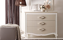 LACQUERED ASH FINISH FR03 DOVE GREY AND WHITE LACQUER ANDROMEDA 3-DRAWER DRESSER ANDROMEDA  MIRROR